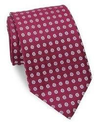 Cravate en soie imprimée pourpre foncée Charvet