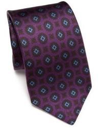 Cravate en soie imprimée pourpre foncée Kiton