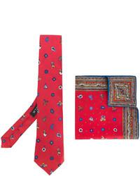 Cravate en soie imprimée rouge Etro