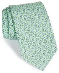 Cravate en soie imprimée vert menthe