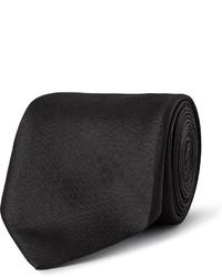 Cravate en soie noire Alexander McQueen