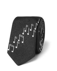 Cravate en soie noire Saint Laurent
