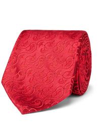 Cravate en soie rouge Charvet