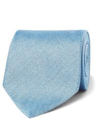 Cravate en soie tressée bleu clair Charvet