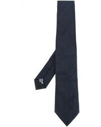 Cravate en soie tressée bleu marine Armani Collezioni