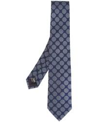 Cravate en soie tressée bleue Giorgio Armani