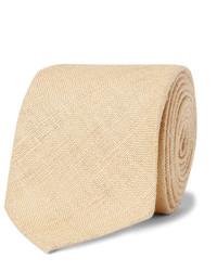 Cravate en soie tressée marron clair Drakes