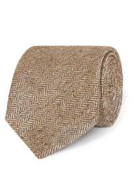 Cravate en soie tressée marron clair Dunhill