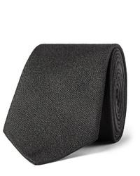 Cravate en soie tressée noire Saint Laurent
