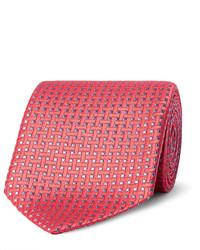 Cravate en soie tressée orange Charvet