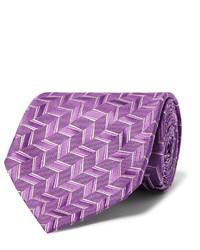 Cravate en soie tressée pourpre Charvet