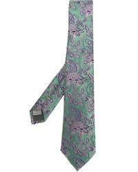 Cravate en soie vert menthe Canali