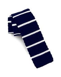 Cravate en tricot bleu marine et blanc