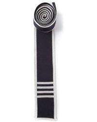 Cravate en tricot bleu marine et blanc Thom Browne