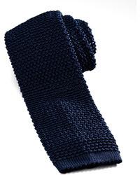 Cravate en tricot bleu marine
