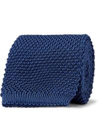 Cravate en tricot bleu marine Anderson & Sheppard