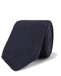 Cravate en tricot bleu marine Brioni