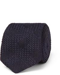 Cravate en tricot bleu marine Burberry