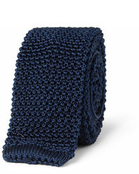 Cravate en tricot bleu marine Charvet