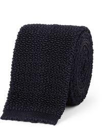 Cravate en tricot bleu marine Drakes