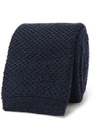 Cravate en tricot bleu marine Hugo Boss