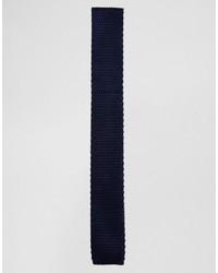 Cravate en tricot bleu marine Selected