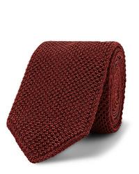 Cravate en tricot bordeaux Brioni