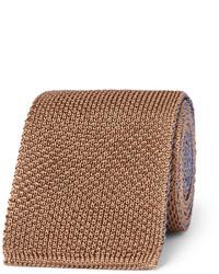Cravate en tricot brun Boglioli