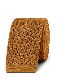 Cravate en tricot dorée Rubinacci