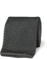 Cravate en tricot gris foncé Brioni