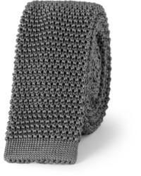 Cravate en tricot gris foncé Charvet