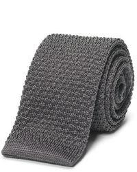 Cravate en tricot grise