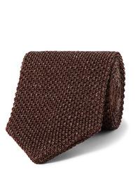 Cravate en tricot marron foncé Caruso