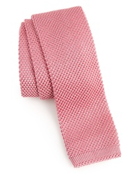 Cravate en tricot rose