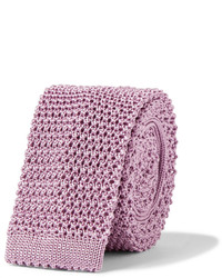 Cravate en tricot rose Charvet