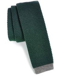 Cravate en tricot vert foncé