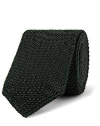 Cravate en tricot vert foncé Brioni