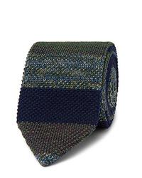 Cravate en tricot vert foncé Missoni
