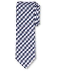 Cravate en vichy blanc et bleu marine