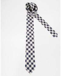 Cravate en vichy blanche et noire Asos