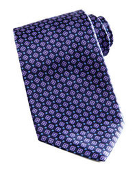 Cravate géométrique bleu marine