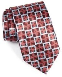 Cravate géométrique bordeaux