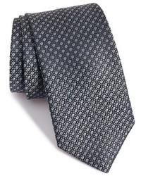 Cravate géométrique gris foncé