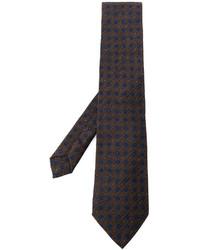 Cravate géométrique marron foncé