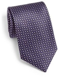 Cravate géométrique pourpre foncé