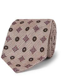 Cravate imprimée beige Rubinacci