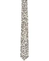 Cravate imprimée blanche Alexander McQueen