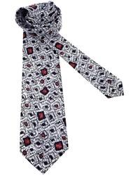 Cravate imprimée blanche Pierre Cardin