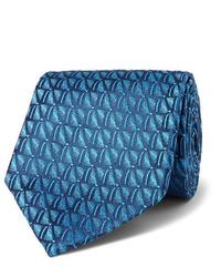 Cravate imprimée bleu canard Charvet