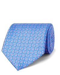 Cravate imprimée bleu clair Charvet